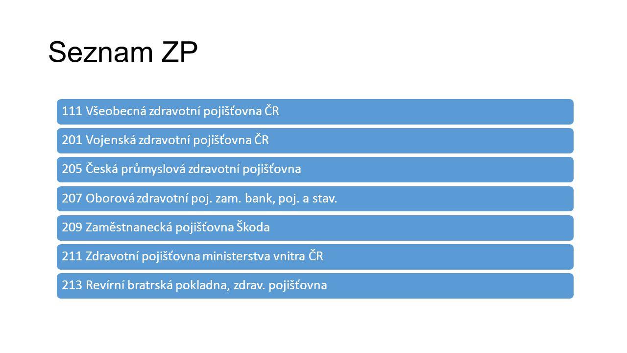 Seznam ZP 111 Všeobecná zdravotní pojišťovna ČR201 Vojenská zdravotní pojišťovna ČR205 Česká průmyslová zdravotní pojišťovna207 Oborová zdravotní poj.