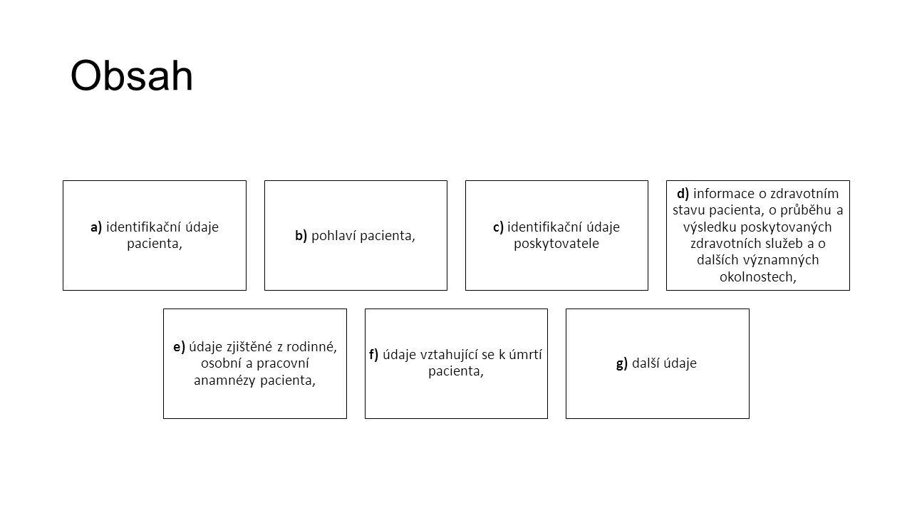 Obsah a) identifikační údaje pacienta, b) pohlaví pacienta, c) identifikační údaje poskytovatele d) informace o zdravotním stavu pacienta, o průběhu a výsledku poskytovaných zdravotních služeb a o dalších významných okolnostech, e) údaje zjištěné z rodinné, osobní a pracovní anamnézy pacienta, f) údaje vztahující se k úmrtí pacienta, g) další údaje