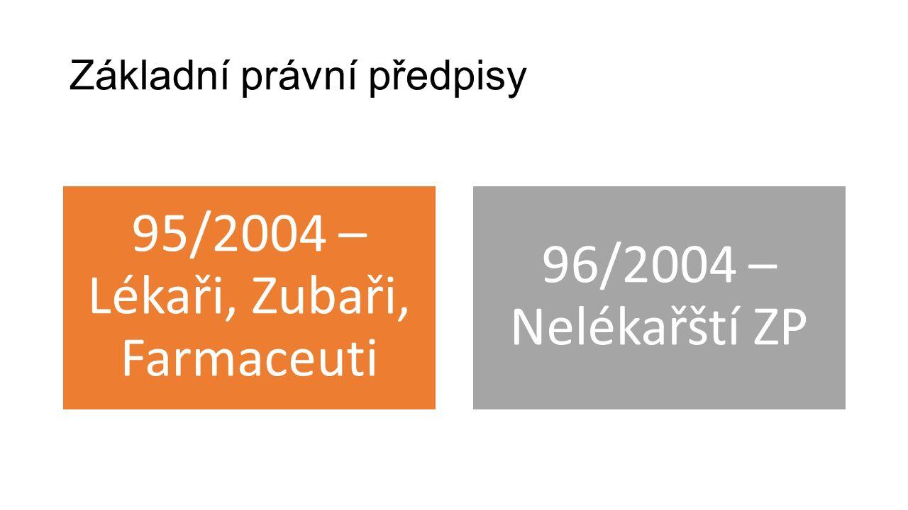 Základní právní předpisy 95/2004 – Lékaři, Zubaři, Farmaceuti 96/2004 – Nelékařští ZP