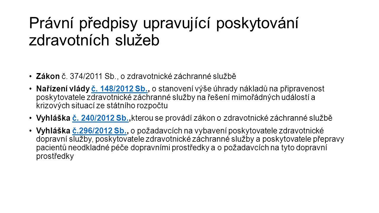 Právní předpisy upravující poskytování zdravotních služeb Zákon č. 374/2011 Sb., o zdravotnické záchranné službě Nařízení vlády č. 148/2012 Sb., o sta