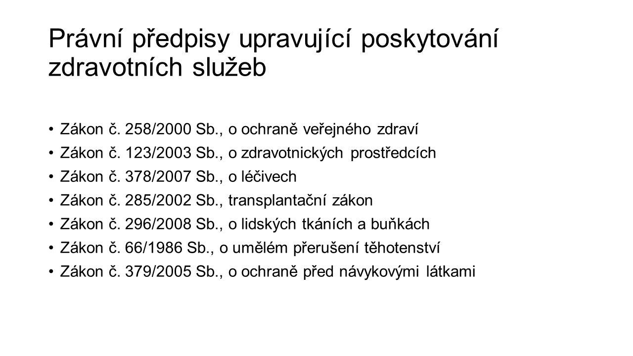 Právní předpisy upravující poskytování zdravotních služeb Zákon č. 258/2000 Sb., o ochraně veřejného zdraví Zákon č. 123/2003 Sb., o zdravotnických pr