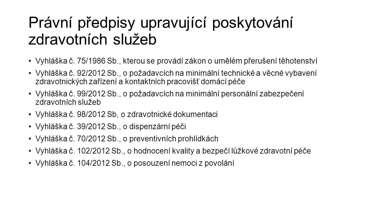 Právní předpisy upravující poskytování zdravotních služeb Vyhláška č. 75/1986 Sb., kterou se provádí zákon o umělém přerušení těhotenství Vyhláška č.