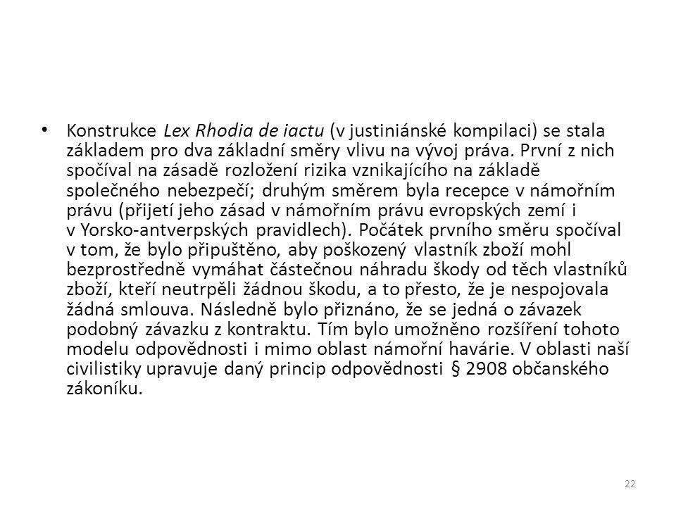 Konstrukce Lex Rhodia de iactu (v justiniánské kompilaci) se stala základem pro dva základní směry vlivu na vývoj práva. První z nich spočíval na zása