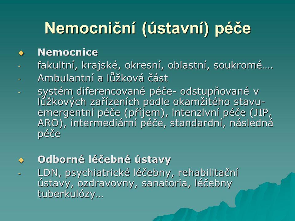 Nemocniční (ústavní) péče  Nemocnice - fakultní, krajské, okresní, oblastní, soukromé….