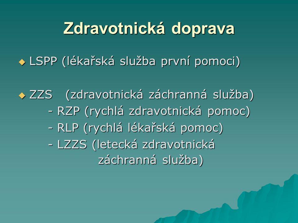 Zdravotnická doprava  LSPP (lékařská služba první pomoci)  ZZS (zdravotnická záchranná služba) - RZP (rychlá zdravotnická pomoc) - RLP (rychlá lékařská pomoc) - LZZS (letecká zdravotnická záchranná služba)