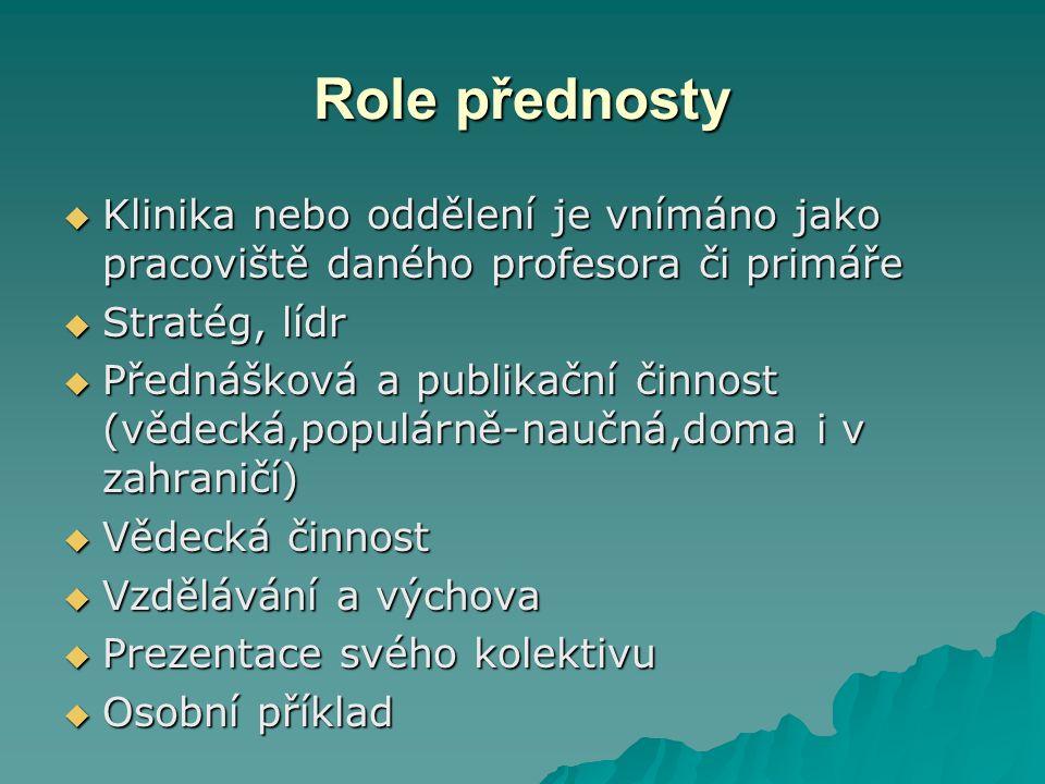 Role přednosty  Klinika nebo oddělení je vnímáno jako pracoviště daného profesora či primáře  Stratég, lídr  Přednášková a publikační činnost (vědecká,populárně-naučná,doma i v zahraničí)  Vědecká činnost  Vzdělávání a výchova  Prezentace svého kolektivu  Osobní příklad