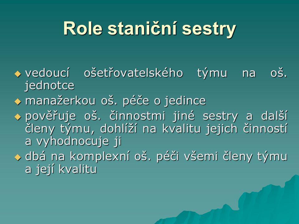 Role staniční sestry  vedoucí ošetřovatelského týmu na oš.