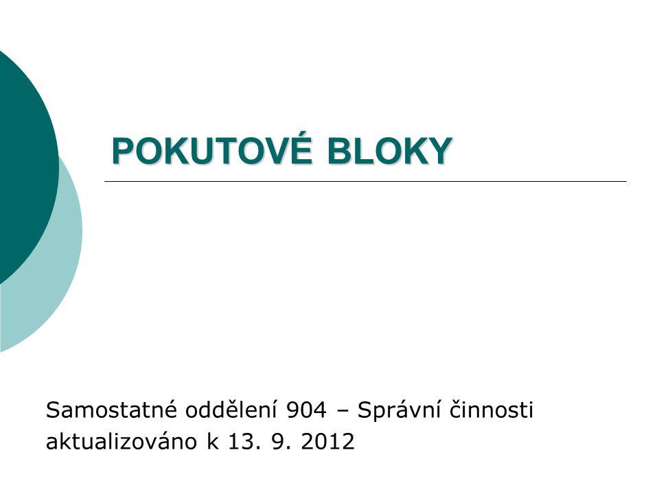 POKUTOVÉ BLOKY Samostatné oddělení 904 – Správní činnosti aktualizováno k 13. 9. 2012
