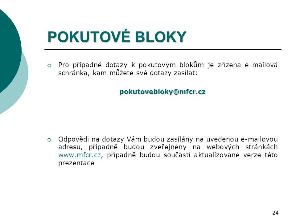 24 POKUTOVÉ BLOKY  Pro případné dotazy k pokutovým blokům je zřízena e-mailová schránka, kam můžete své dotazy zasílat:pokutovebloky@mfcr.cz  Odpovědi na dotazy Vám budou zasílány na uvedenou e-mailovou adresu, případně budou zveřejněny na webových stránkách www.mfcr.cz, případně budou součástí aktualizované verze této prezentace www.mfcr.cz
