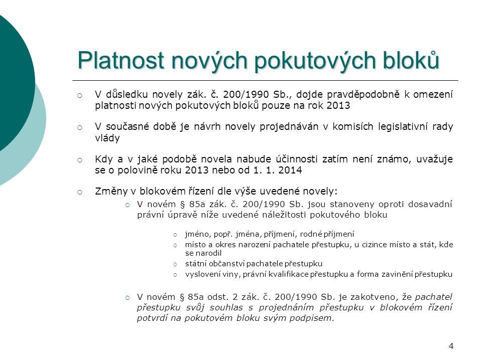 15 POKUTOVÉ BLOKY na pokuty POKUTOVÉ BLOKY na pokuty ukládané právnickým a podnikajícím fyzickým osobám  Důvody vydání  V několika právních předpisech je obsaženo ustanovení, které stanoví, že správní delikty lze projednat v blokovém řízení, přičemž na blokové řízení ve věci správních deliktů se použije obdobně úprava právního předpisu upravujícího blokové řízení za přestupek, tedy zák.