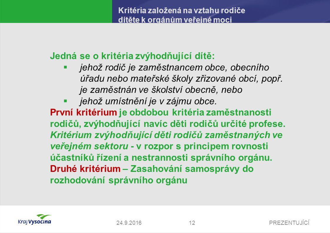 PREZENTUJÍCÍ Kritéria založená na vztahu rodiče dítěte k orgánům veřejné moci Jedná se o kritéria zvýhodňující dítě:  jehož rodič je zaměstnancem obc