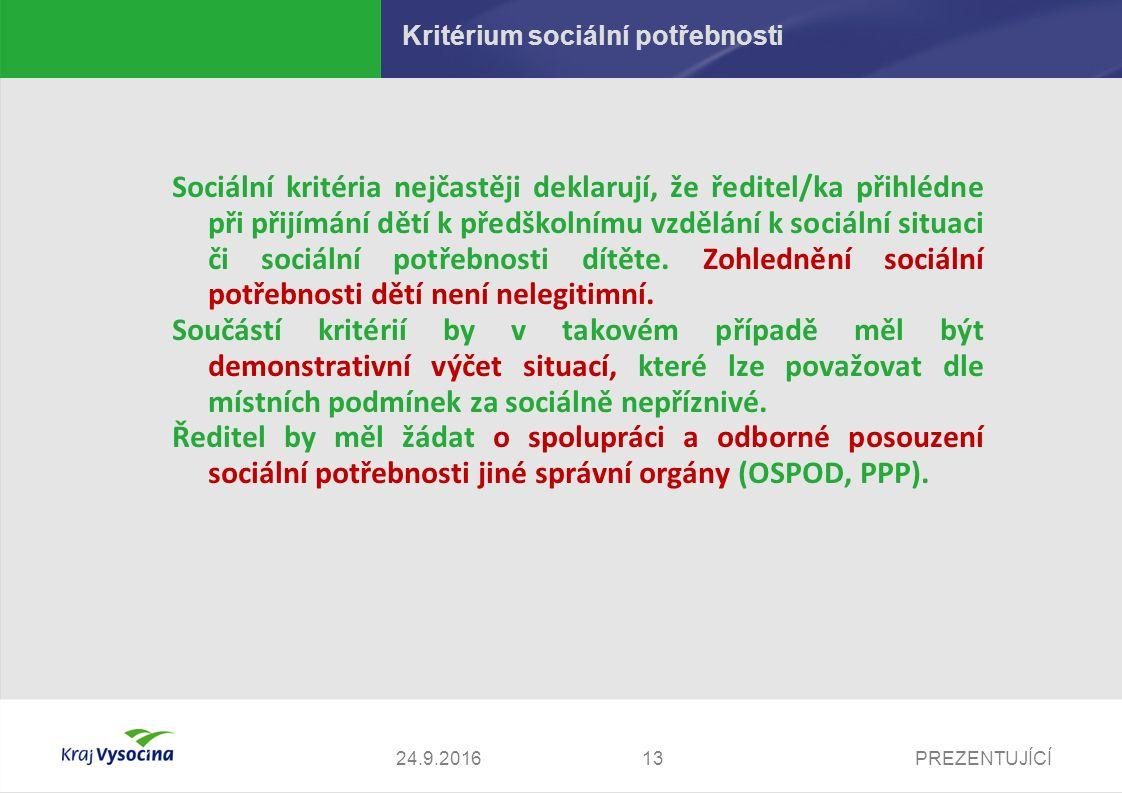PREZENTUJÍCÍ Kritérium sociální potřebnosti Sociální kritéria nejčastěji deklarují, že ředitel/ka přihlédne při přijímání dětí k předškolnímu vzdělání k sociální situaci či sociální potřebnosti dítěte.