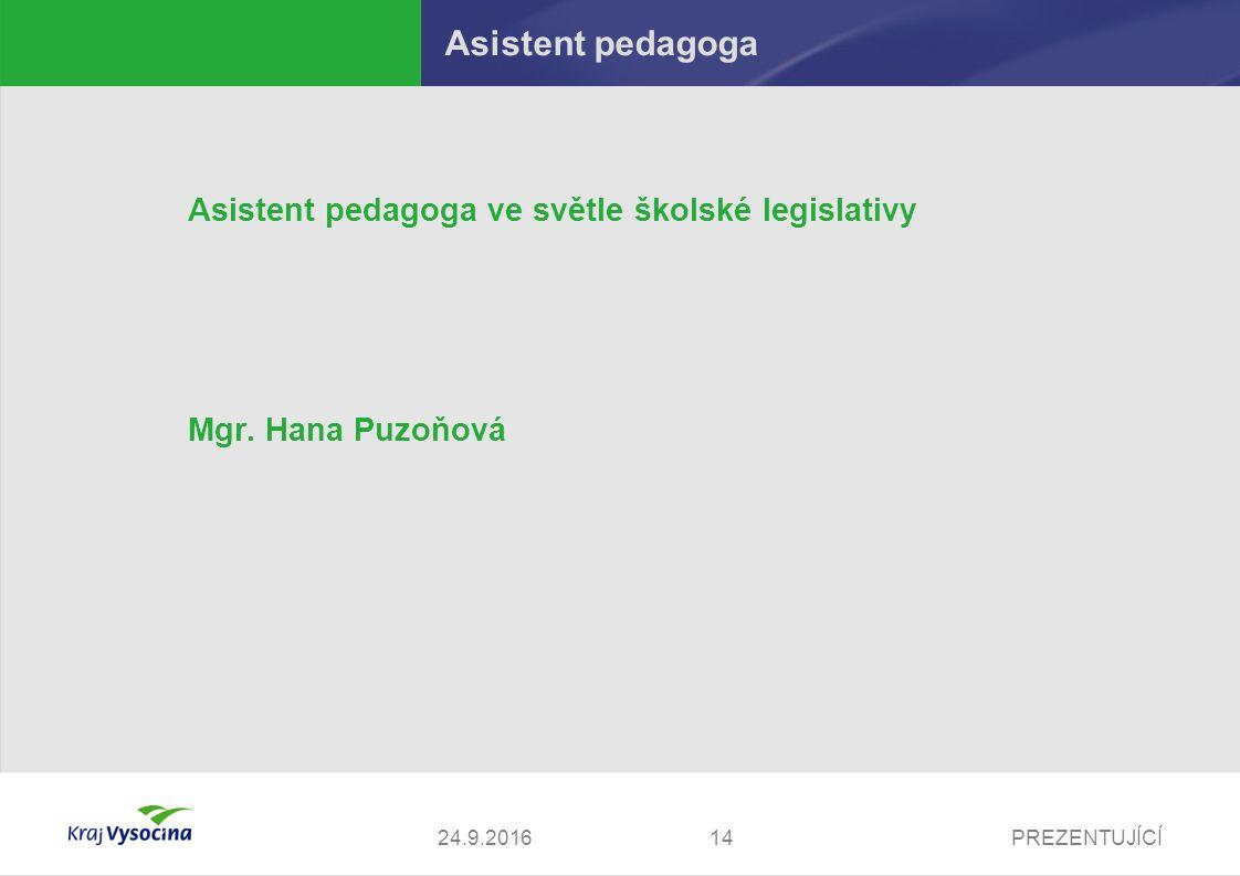 PREZENTUJÍCÍ1424.9.2016 Asistent pedagoga Asistent pedagoga ve světle školské legislativy Mgr. Hana Puzoňová
