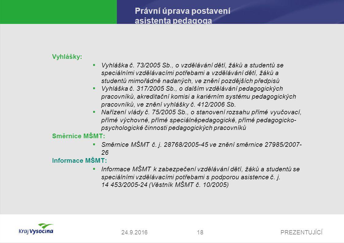 PREZENTUJÍCÍ Právní úprava postavení asistenta pedagoga Vyhlášky:  Vyhláška č.