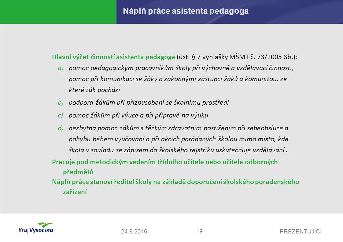PREZENTUJÍCÍ Náplň práce asistenta pedagoga Hlavní výčet činností asistenta pedagoga (ust.