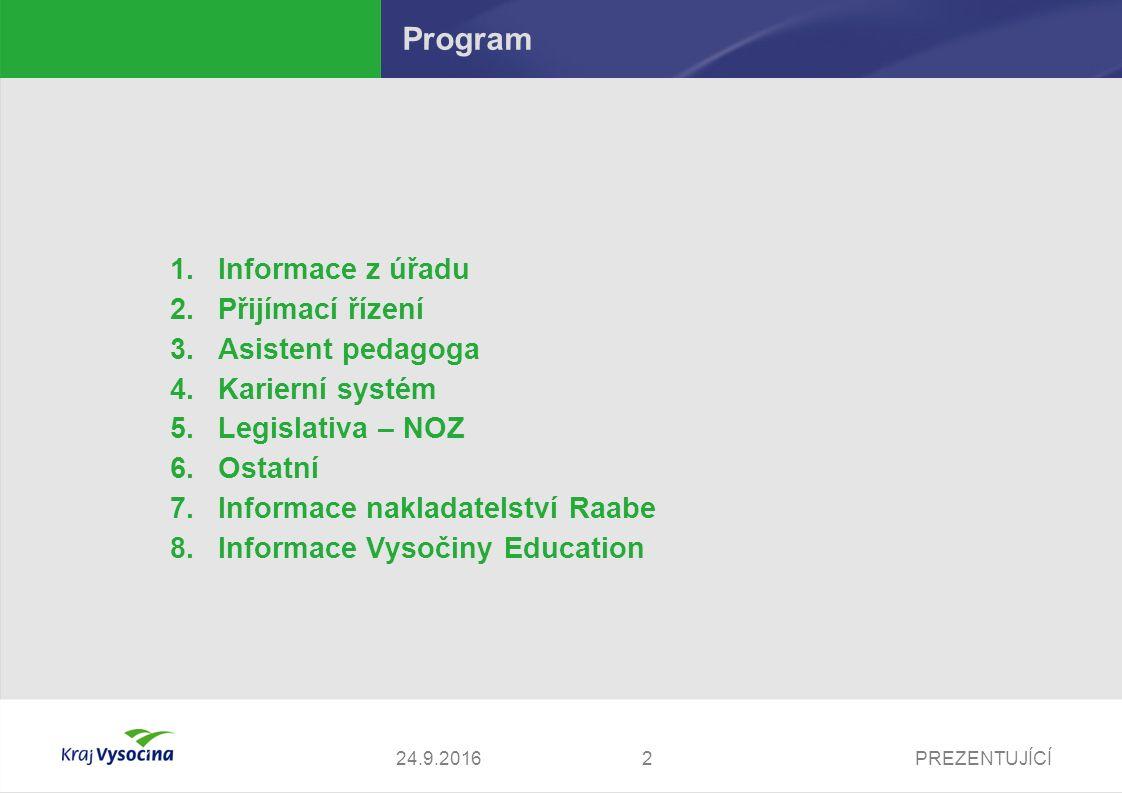 PREZENTUJÍCÍ Program 1.Informace z úřadu 2.Přijímací řízení 3.Asistent pedagoga 4.Karierní systém 5.Legislativa – NOZ 6.Ostatní 7.Informace nakladatel