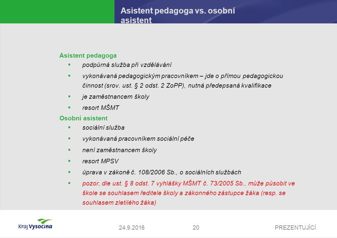 PREZENTUJÍCÍ Asistent pedagoga vs.