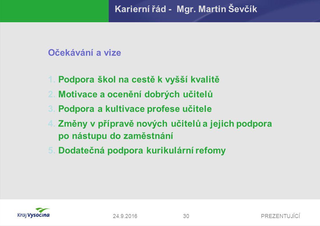 PREZENTUJÍCÍ Karierní řád - Mgr. Martin Ševčík Očekávání a vize 1.Podpora škol na cestě k vyšší kvalitě 2.Motivace a ocenění dobrých učitelů 3.Podpora