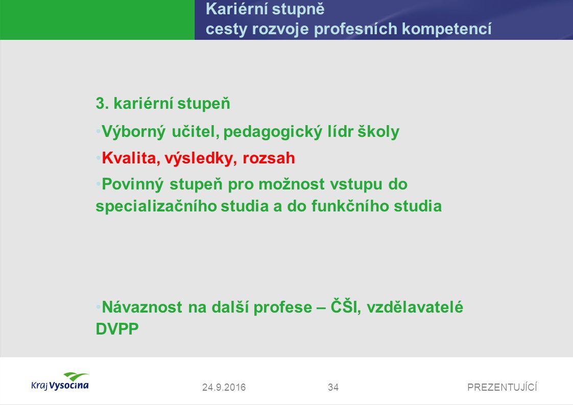 PREZENTUJÍCÍ Kariérní stupně cesty rozvoje profesních kompetencí 3. kariérní stupeň Výborný učitel, pedagogický lídr školy Kvalita, výsledky, rozsah P