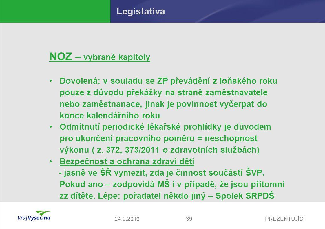PREZENTUJÍCÍ Legislativa NOZ – vybrané kapitoly Dovolená: v souladu se ZP převádění z loňského roku pouze z důvodu překážky na straně zaměstnavatele n