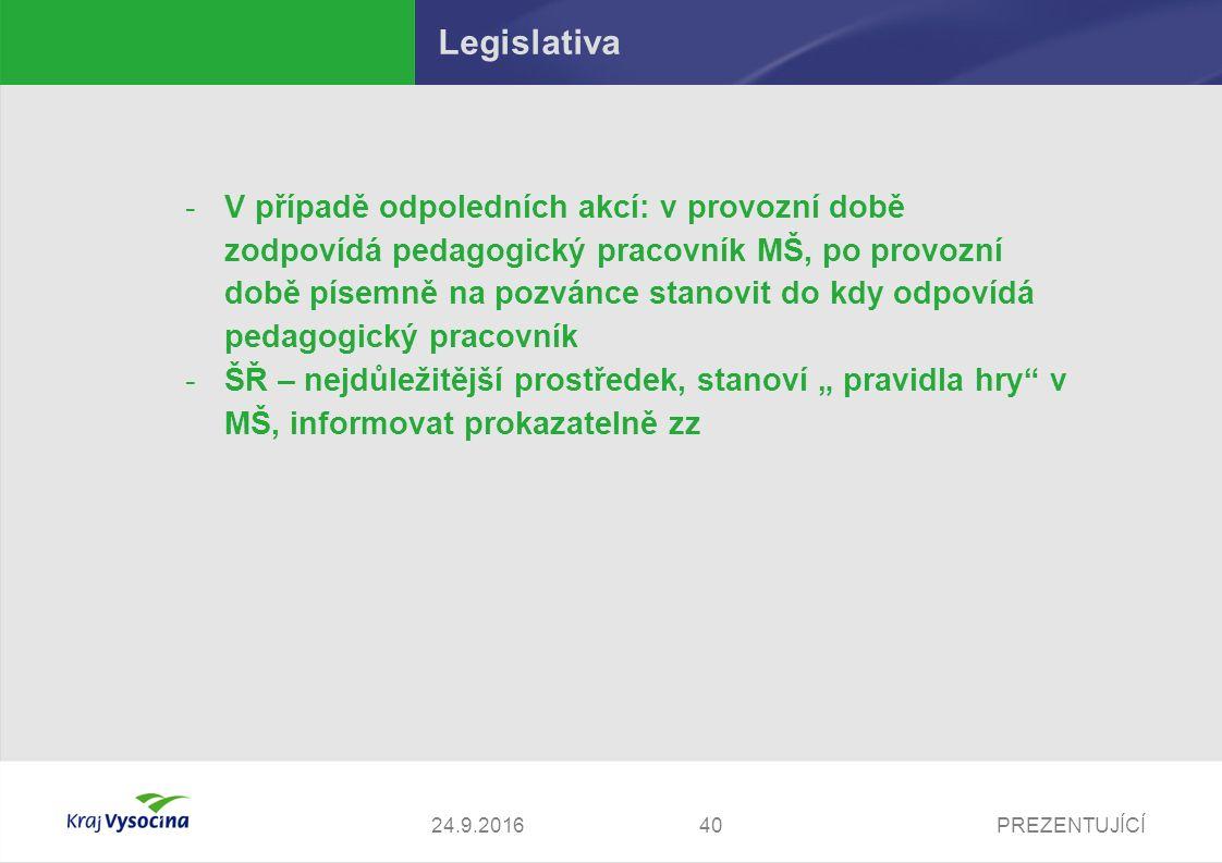PREZENTUJÍCÍ Legislativa -V případě odpoledních akcí: v provozní době zodpovídá pedagogický pracovník MŠ, po provozní době písemně na pozvánce stanovi
