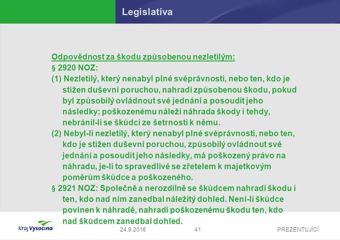 PREZENTUJÍCÍ Legislativa Odpovědnost za škodu způsobenou nezletilým: § 2920 NOZ: (1) Nezletilý, který nenabyl plné svéprávnosti, nebo ten, kdo je stiž