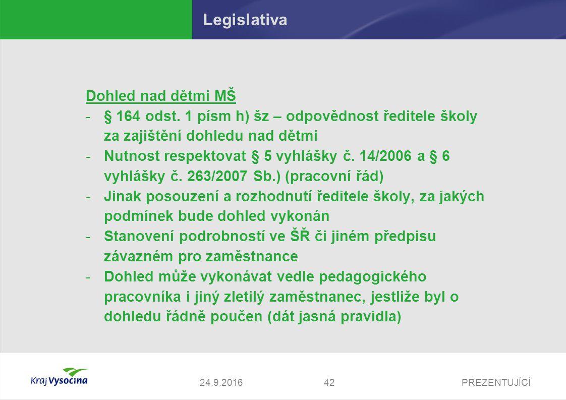 PREZENTUJÍCÍ Legislativa Dohled nad dětmi MŠ -§ 164 odst.