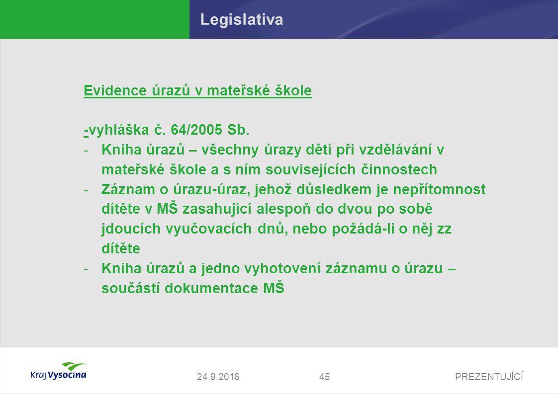 PREZENTUJÍCÍ Legislativa Evidence úrazů v mateřské škole -vyhláška č.