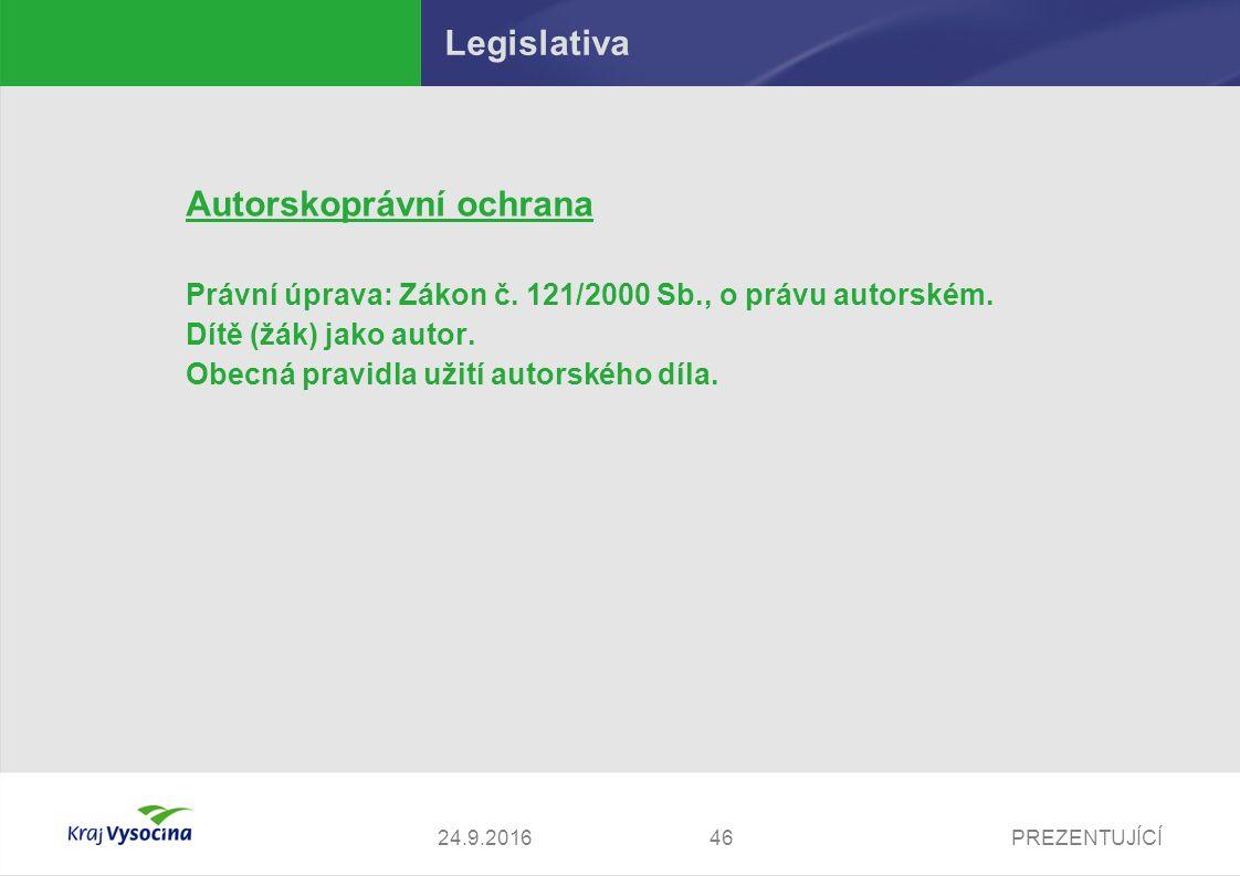 PREZENTUJÍCÍ Legislativa Autorskoprávní ochrana Právní úprava: Zákon č. 121/2000 Sb., o právu autorském. Dítě (žák) jako autor. Obecná pravidla užití