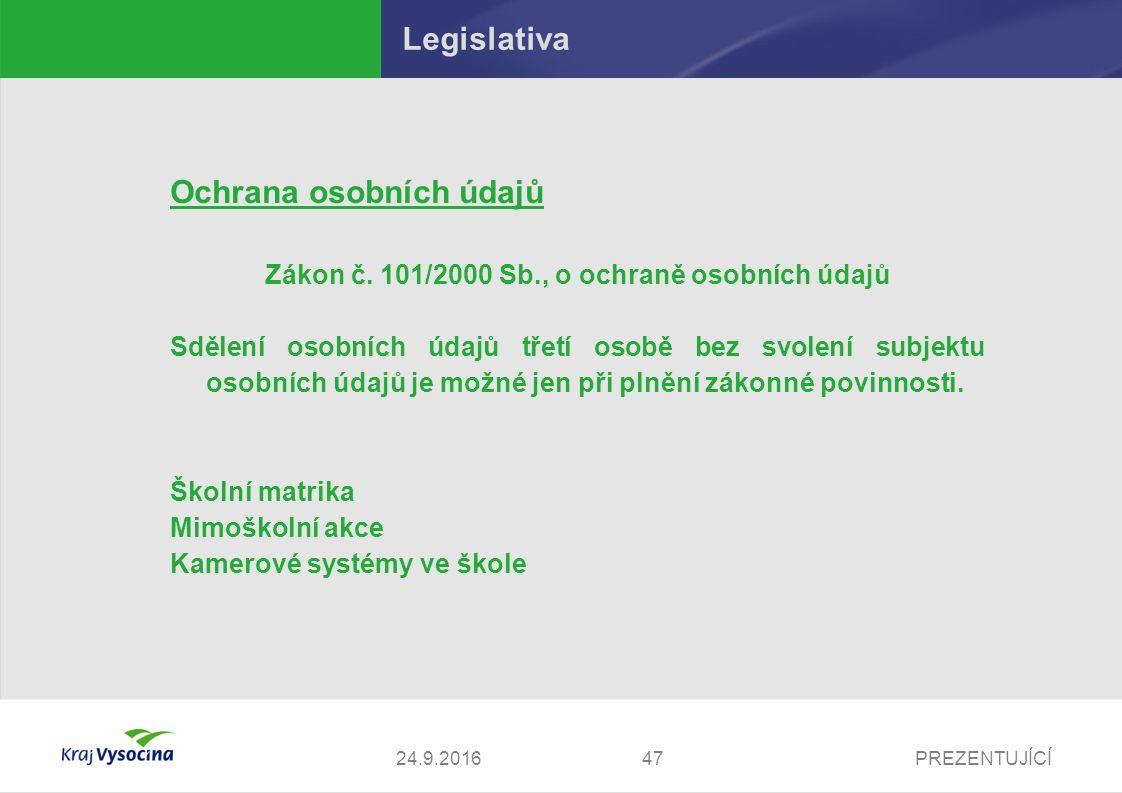 PREZENTUJÍCÍ Legislativa Ochrana osobních údajů Zákon č. 101/2000 Sb., o ochraně osobních údajů Sdělení osobních údajů třetí osobě bez svolení subjekt