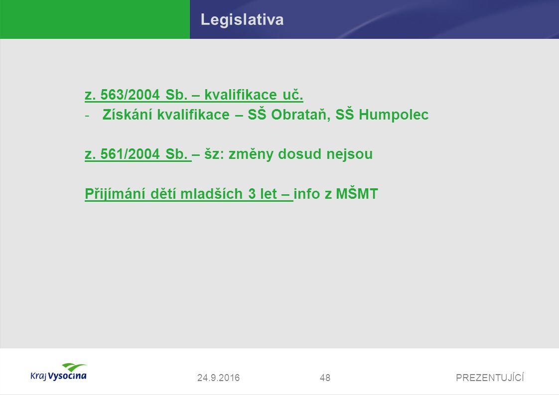PREZENTUJÍCÍ Legislativa z. 563/2004 Sb. – kvalifikace uč.