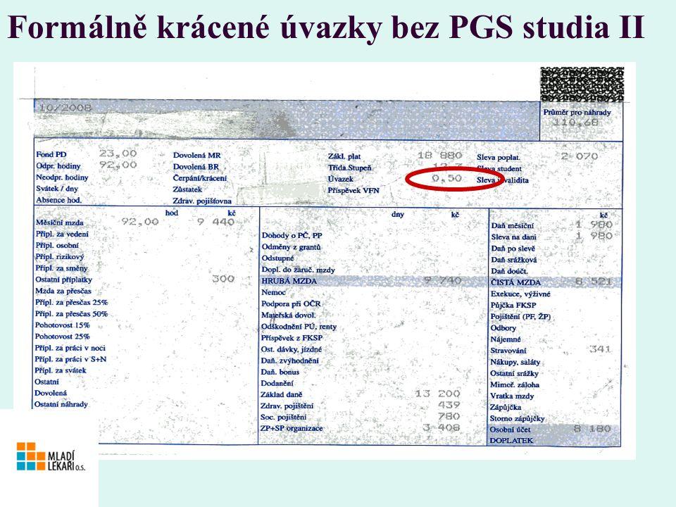 Formálně krácené úvazky bez PGS studia II