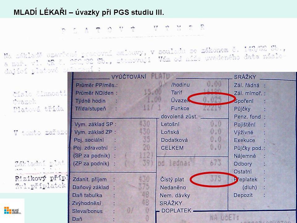 MLADÍ LÉKAŘI – úvazky při PGS studiu III.