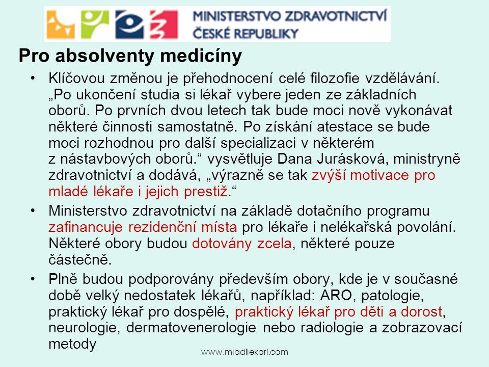 www.mladilekari.com Pro absolventy medicíny Klíčovou změnou je přehodnocení celé filozofie vzdělávání.