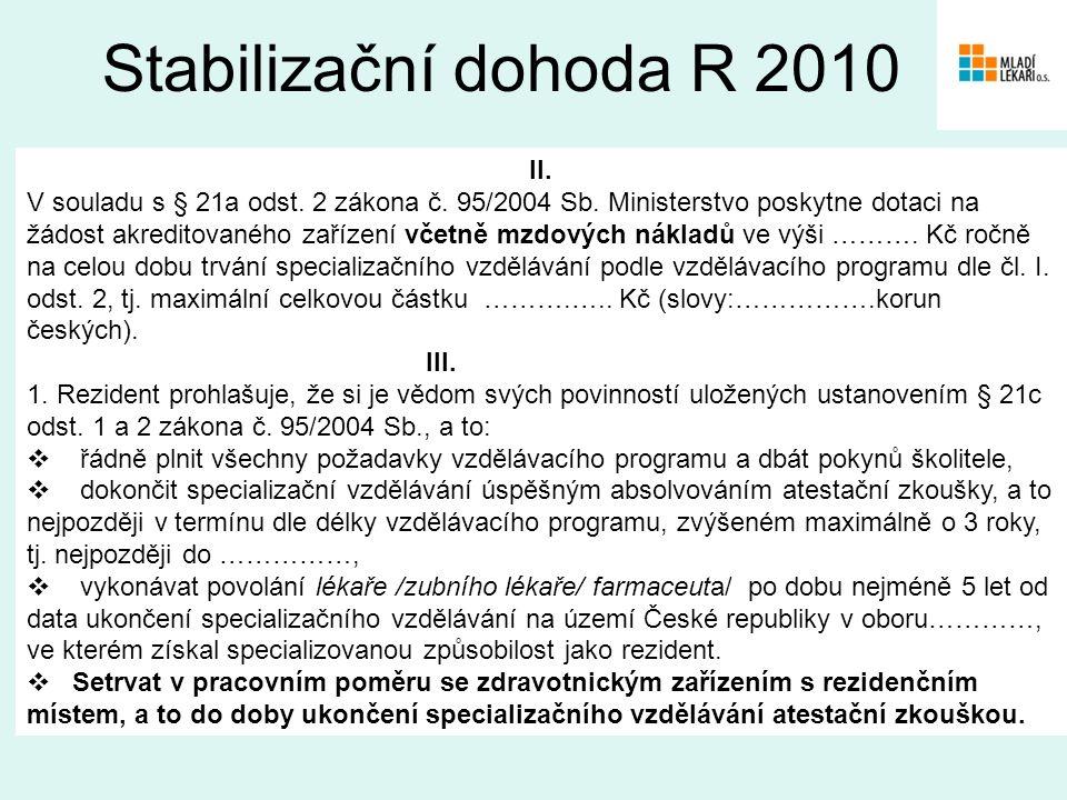 II. V souladu s § 21a odst. 2 zákona č. 95/2004 Sb.