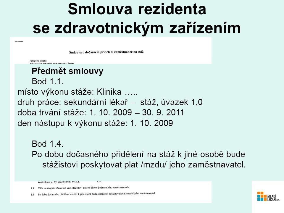 Smlouva rezidenta se zdravotnickým zařízením Předmět smlouvy Bod 1.1.