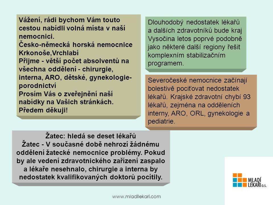 www.mladilekari.com Vážení, rádi bychom Vám touto cestou nabídli volná místa v naší nemocnici.