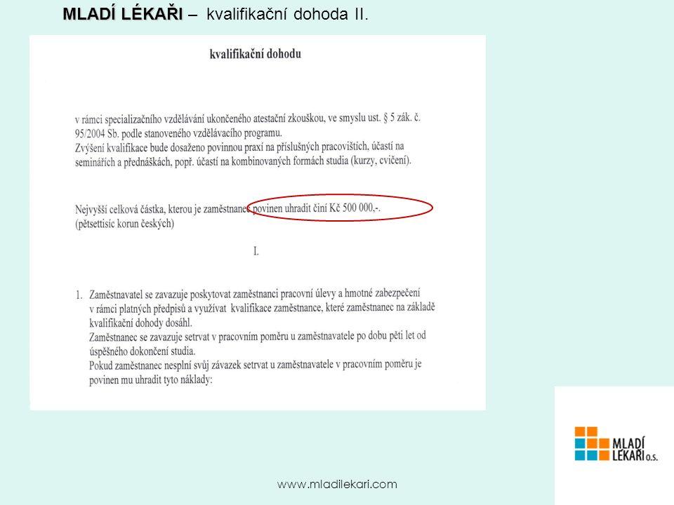 www.mladilekari.com MLADÍ LÉKAŘI MLADÍ LÉKAŘI – kvalifikační dohoda II.