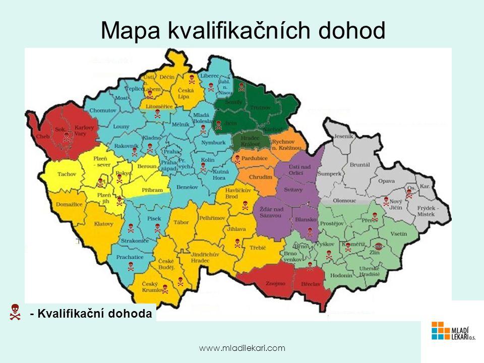www.mladilekari.com Mapa kvalifikačních dohod Zde tabulka/města kde a za kolik se podepisuje atestace - Kvalifikační dohoda