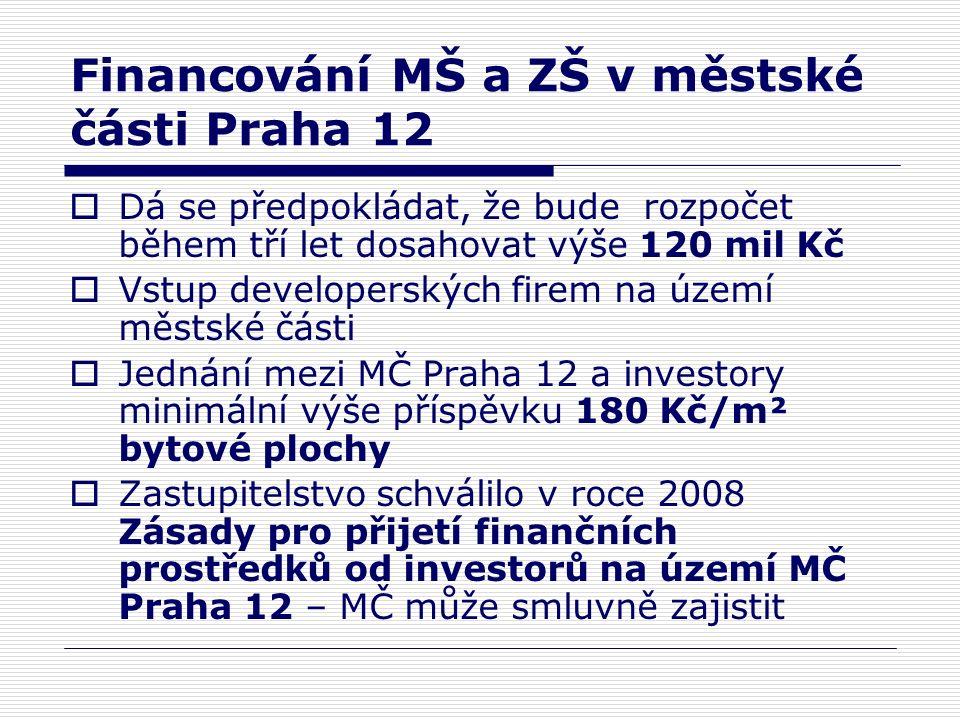 Financování MŠ a ZŠ v městské části Praha 12  Dá se předpokládat, že bude rozpočet během tří let dosahovat výše 120 mil Kč  Vstup developerských firem na území městské části  Jednání mezi MČ Praha 12 a investory minimální výše příspěvku 180 Kč/m² bytové plochy  Zastupitelstvo schválilo v roce 2008 Zásady pro přijetí finančních prostředků od investorů na území MČ Praha 12 – MČ může smluvně zajistit