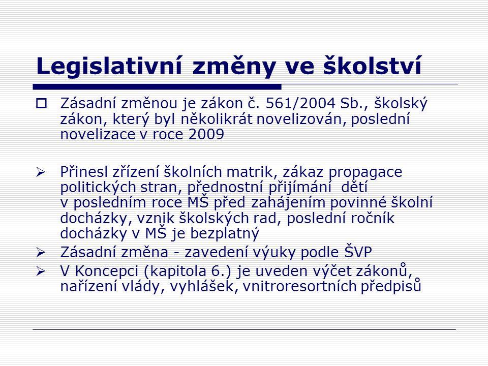 Legislativní změny ve školství  Zásadní změnou je zákon č.
