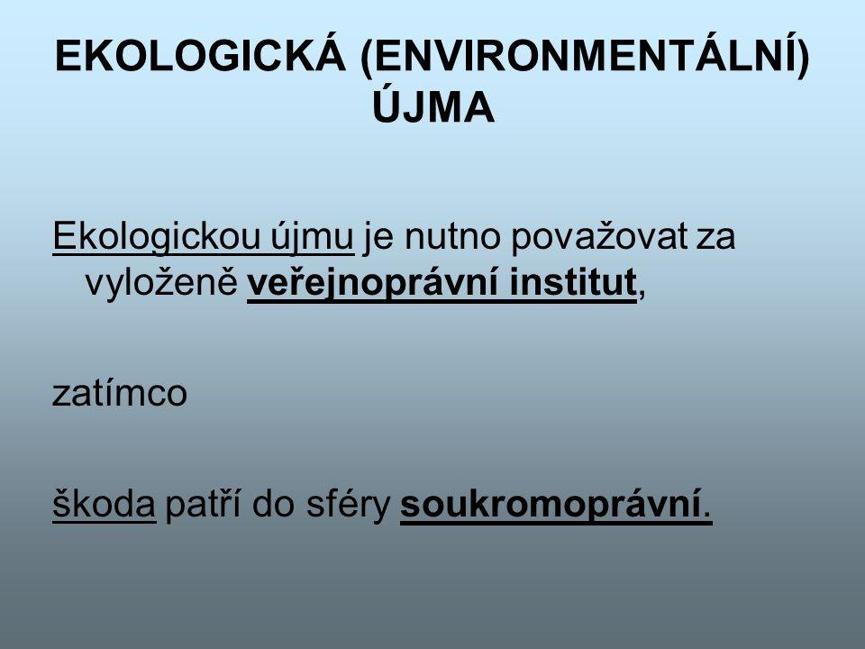 EKOLOGICKÁ (ENVIRONMENTÁLNÍ) ÚJMA Ekologickou újmu je nutno považovat za vyloženě veřejnoprávní institut, zatímco škoda patří do sféry soukromoprávní.