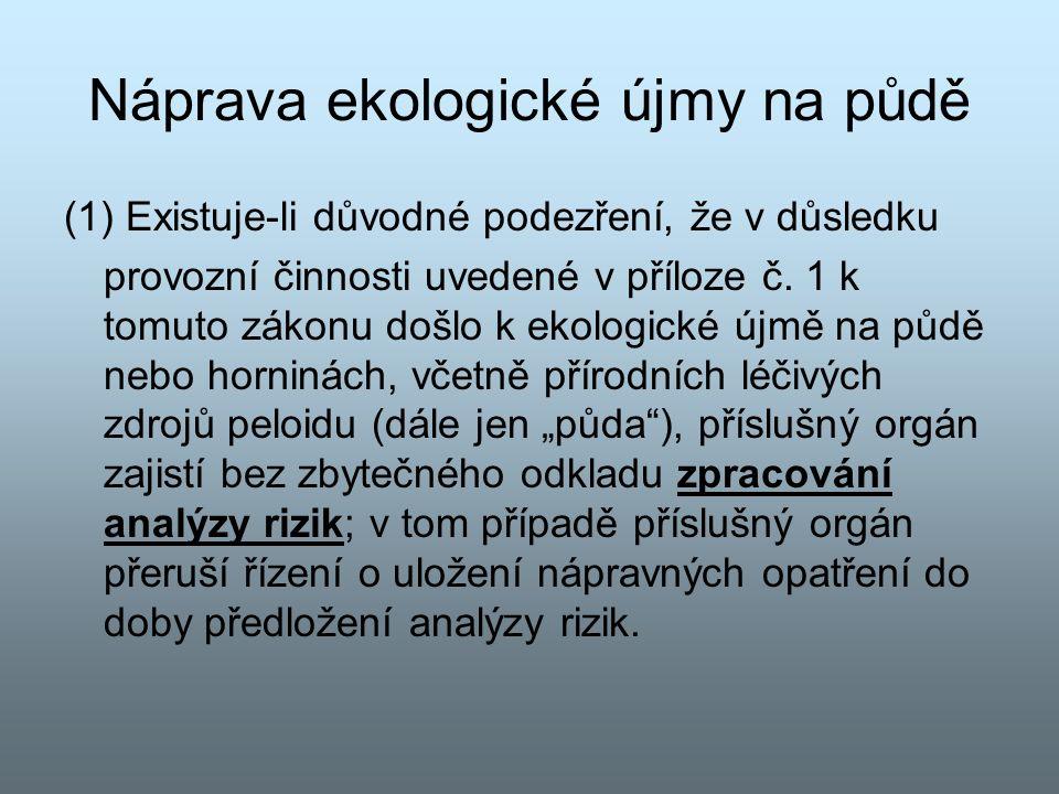 Náprava ekologické újmy na půdě (1) Existuje-li důvodné podezření, že v důsledku provozní činnosti uvedené v příloze č.