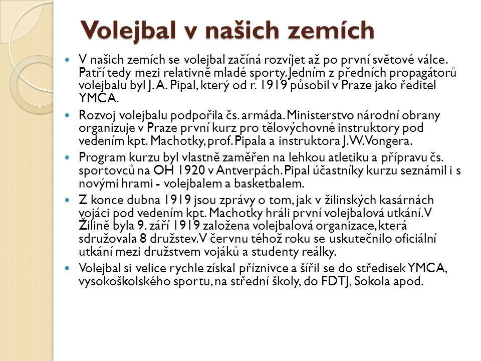 Volejbal v našich zemích V našich zemích se volejbal začíná rozvíjet až po první světové válce.
