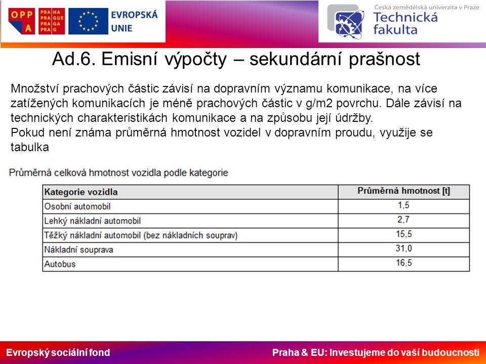 Evropský sociální fond Praha & EU: Investujeme do vaší budoucnosti Ad.6.