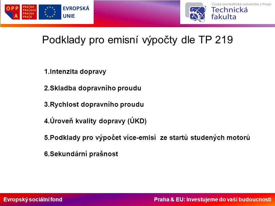 Evropský sociální fond Praha & EU: Investujeme do vaší budoucnosti Podklady pro emisní výpočty dle TP 219 1.Intenzita dopravy 2.Skladba dopravního proudu 3.Rychlost dopravního proudu 4.Úroveň kvality dopravy (ÚKD) 5.Podklady pro výpočet více-emisí ze startů studených motorů 6.Sekundární prašnost