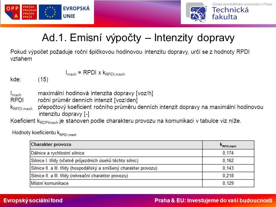 Evropský sociální fond Praha & EU: Investujeme do vaší budoucnosti Ad.1.