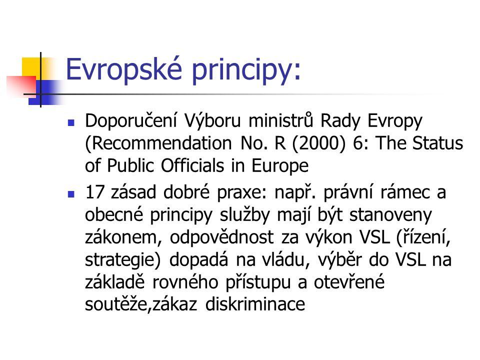 Evropské principy: Doporučení Výboru ministrů Rady Evropy (Recommendation No. R (2000) 6: The Status of Public Officials in Europe 17 zásad dobré prax