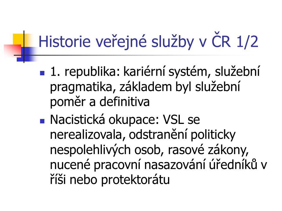 Historie veřejné služby v ČR 1/2 1. republika: kariérní systém, služební pragmatika, základem byl služební poměr a definitiva Nacistická okupace: VSL