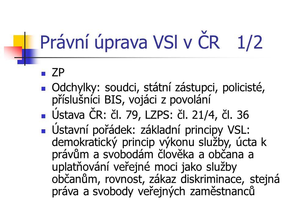 Právní úprava VSl v ČR 1/2 ZP Odchylky: soudci, státní zástupci, policisté, příslušníci BIS, vojáci z povolání Ústava ČR: čl.
